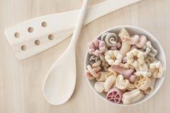Bowl of raw pasta Stock Image
