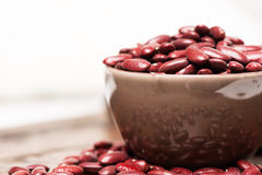 Bowl with raw red beans macro horizontal Stock Image