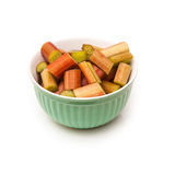 Bowl of raw rhubarb Royalty Free Stock Photography