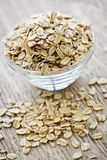 Bowl of raw rolled oats Royalty Free Stock Images