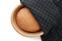 Bowl with raw rye dough on white background,. Top view Royalty Free Stock Photos