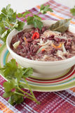 Bowl of red bean soup with sauerkraut Royalty Free Stock Images