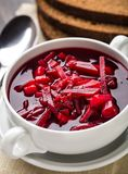 Bowl of red beetroot soup Stock Photos
