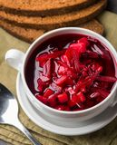 Bowl of red beetroot soup Royalty Free Stock Image