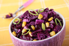 Bowl of red cabbage salad with corn Stock Image