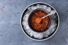 Bowl of red caviar Stock Photography