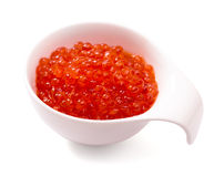 Bowl of red caviar isolated Stock Photo
