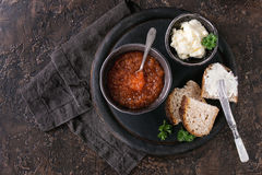 Bowl of red caviar Stock Photo