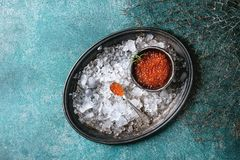Bowl of red caviar Royalty Free Stock Image