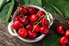 Bowl with red cherries, freshly picked cherries. Concept Royalty Free Stock Photography