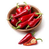 Bowl of red chili peppers Stock Photo