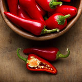 Bowl of red chili peppers Royalty Free Stock Photos