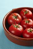 Bowl with red fresh vine tomatoes Royalty Free Stock Images