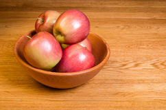 Bowl of red Fuji apples Stock Photos