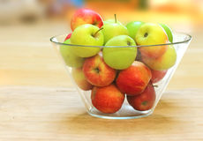 Bowl of red and green apples Stock Images