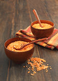 Bowl of red lentils Stock Photos