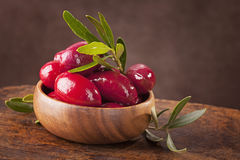 Bowl with red olives Royalty Free Stock Photography