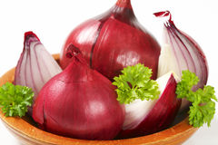 Bowl of red onion Royalty Free Stock Photo