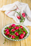Bowl of red radishes and green onions. On a wooden background Royalty Free Stock Image