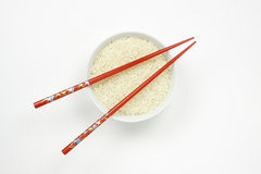Bowl of Rice with Chopsticks Royalty Free Stock Image
