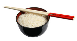 Bowl of rice with chopsticks Royalty Free Stock Photo