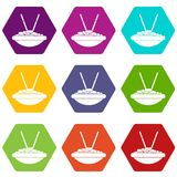 Bowl of rice with chopsticks icon set color hexahedron Stock Photo