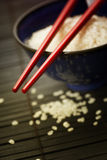 Bowl of rice and chopsticks Royalty Free Stock Image