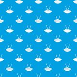 Bowl of rice with chopsticks pattern seamless blue Stock Images