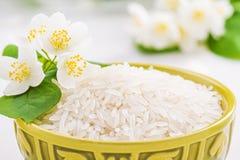 Bowl with rice jasmine Stock Photo