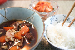 Bowl of rice with Korean beef stew. Bowl of white rice with Korean beef stew known as kalbi jim Stock Image