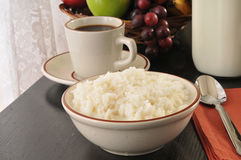 Bowl of rice with milk Stock Photo