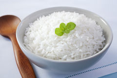 Bowl of Rice with Mint Garnish Royalty Free Stock Images