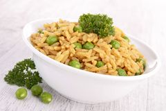 Bowl of rice and pea Royalty Free Stock Image