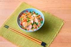 Bowl of rice with poached salmon Royalty Free Stock Images
