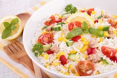 Bowl of rice salad Royalty Free Stock Images