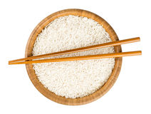 Bowl of rice with sticks Stock Images