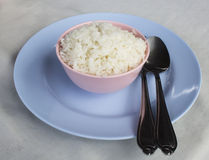 A bowl of rice on the table Royalty Free Stock Images