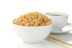 Bowl of rice with tea Stock Photos