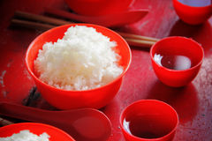 Bowl of rice and tea Stock Images