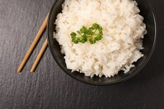 Bowl of rice. Top view Stock Images