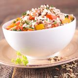 Bowl of rice and vegetables Royalty Free Stock Photography
