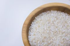 Bowl with rice on white background. Natural food high in protein royalty free stock image
