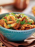 Bowl of rigatoni pasta with italian sausage Royalty Free Stock Photos