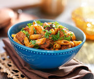 Bowl of rigatoni pasta with sausage Stock Photography