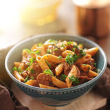 Bowl of rigatoni pasta with sausage Royalty Free Stock Images