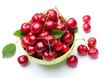 Bowl with rioe cherries. Royalty Free Stock Photos
