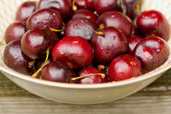 Bowl of ripe cherries Stock Image