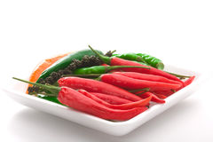 Bowl of ripe colorfull chili pepper. Over white background royalty free stock photography