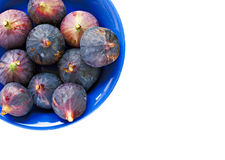 Bowl of ripe figs on white Stock Images