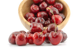 Bowl with ripe red cherries Royalty Free Stock Image